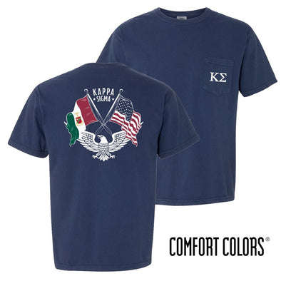 Kappa Sig Comfort Colors Short Sleeve Navy Patriot tee
