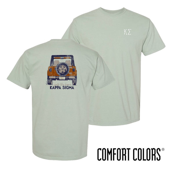 New! Kappa Sig Comfort Colors Short Sleeve Jeep Tee