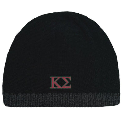 Sale! Kappa Sig Black Knit Beanie with Fleece Lining