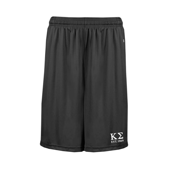 "Kappa Sig Black 10"" Pocketed Performance Shorts"