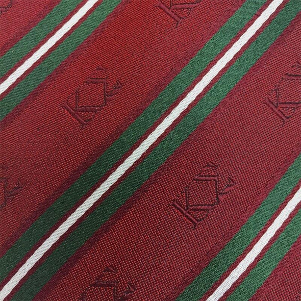 Sale! Kappa Sigma Red and Dark Green Striped Silk Tie