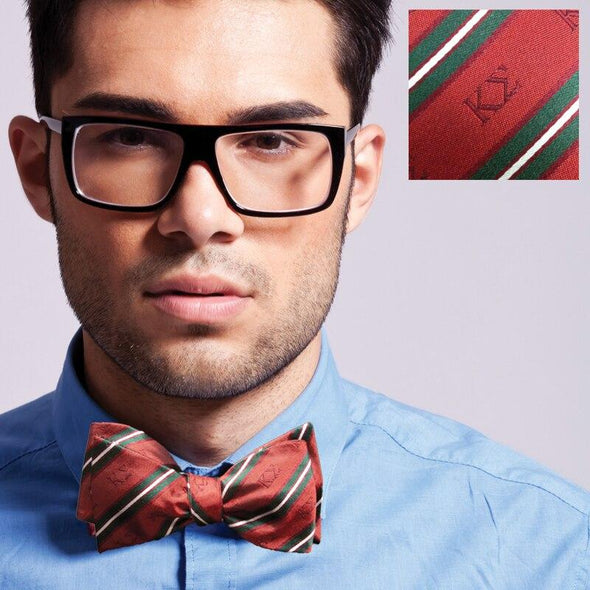 Sale! Kappa Sigma Red and Dark Green Striped Silk Bow Tie