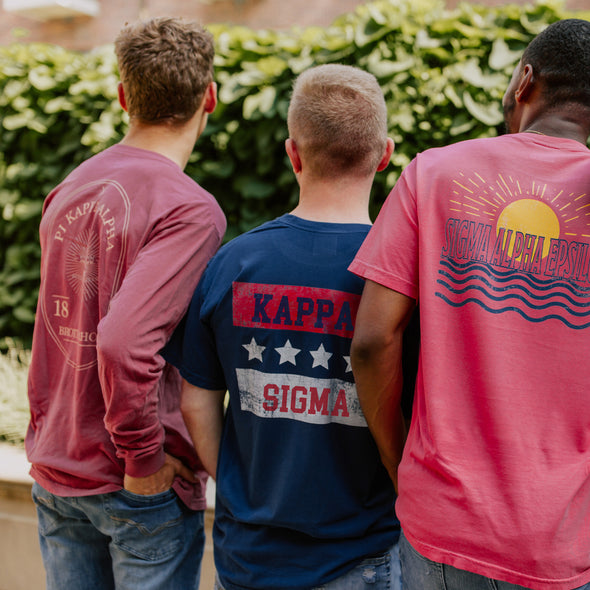 Kappa Sig Comfort Colors Red White and Navy Short Sleeve Tee