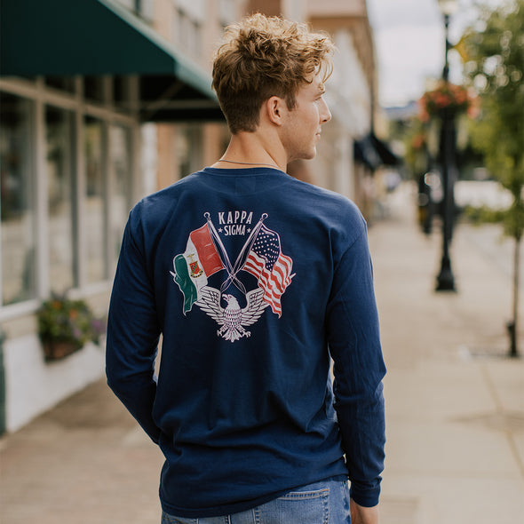 New! Kappa Sig Comfort Colors Long Sleeve Navy Patriot tee