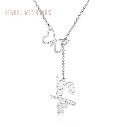 Butterfly Custom Name Y-Shaped Necklace