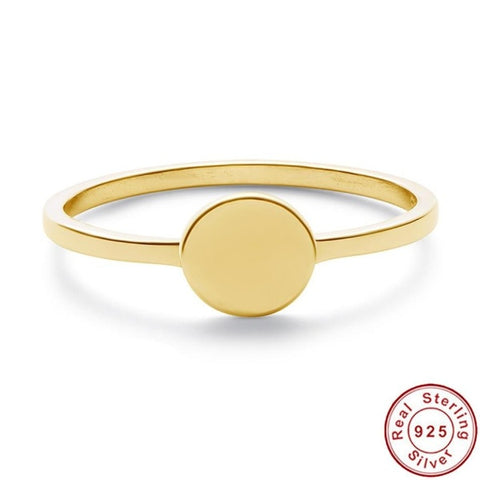 18K Gold Plated Sterling Silver Signet Ring