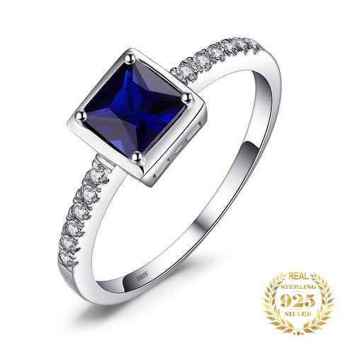 Square Created Blue Sapphire Ring