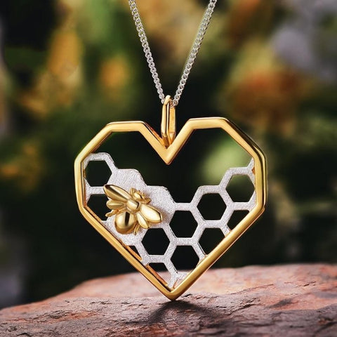 Honeycomb Bee Hearty Home Pendant - No Chain