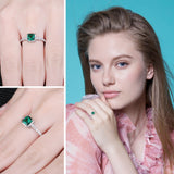 Square Created Nano Emerald Ring