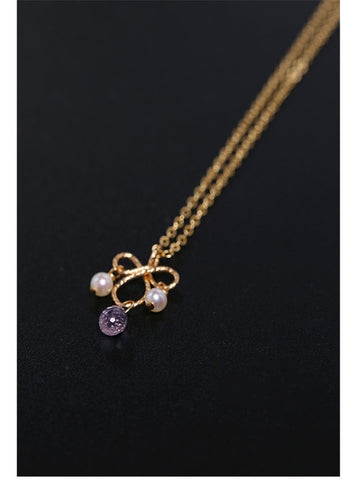 14K Gold Injection Amethyst Gemstone Pendant Necklace