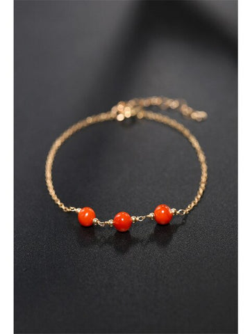 Yellow 14K Gold Injection Red Agate Bracelet
