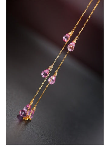 18K Gold Gypsophila Topaz Necklace