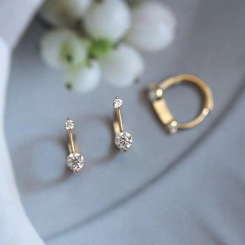 Zircon Stoned Gold/Silver Studs