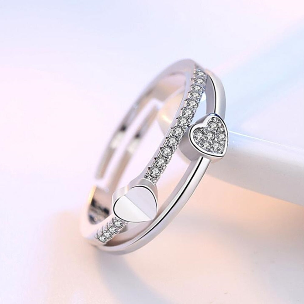925 sterling silver zirconia silver ring opening the adjustable ring asymmetrical heart-shaped jewelry