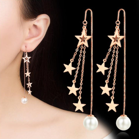 Long Tassel Five-Pointed Star Round Retro Earrings