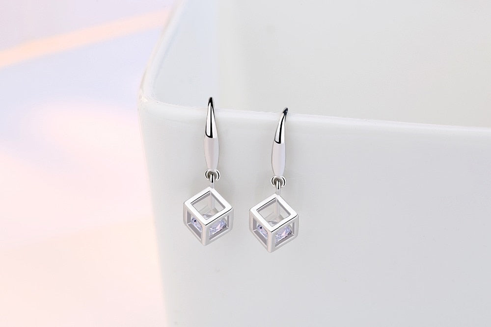 925 sterling silver new retro simple hollow square super flash Zircon earrings hot sale