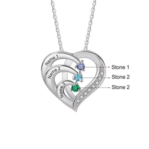 Family Heart with Personalized names and stones