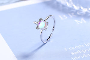 925 Sterling Silver High Quality Color Crystal Zircon Unicorn Ring Adjustable Size Open Ring