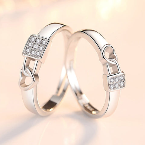 Couples Lock Heart Shaped Hollow Rings
