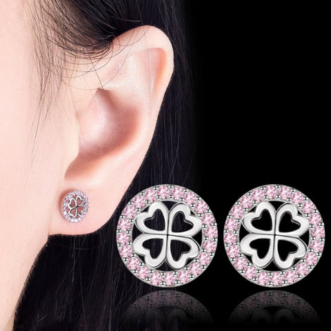 Pink Crystal Four Leaf Clover Hollow Studs