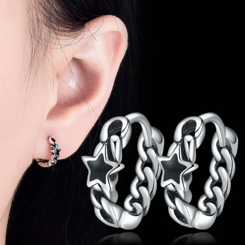 Pentagram Black Thai Earrings