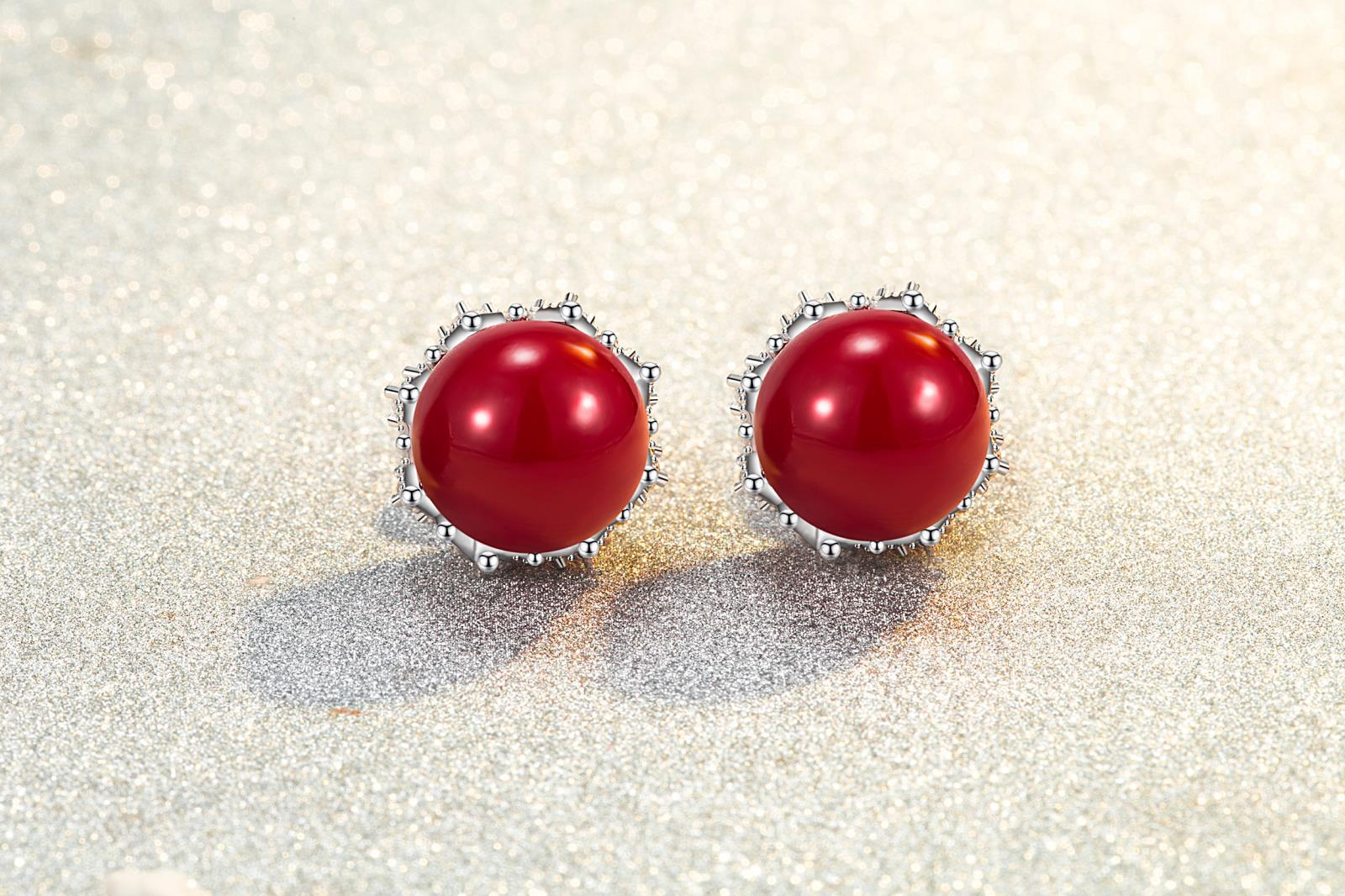 925 Sterling Silver High Quality Simple Crystal Zircon Red Round Crown Earrings
