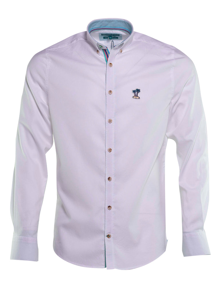 CAMISA OXFORD COLOURS AND SONS BLANCA LOGO PALMERA 6732