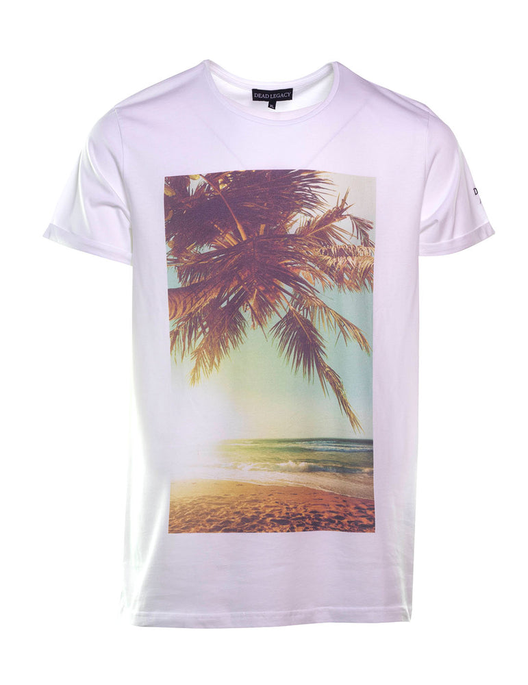 CAMISETA DEAD LEGACY BEACH PALM SUNSET BLANCA.
