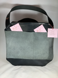 0060 Computer/Tote Bag - Leather Black & Gray Neccessey Collection