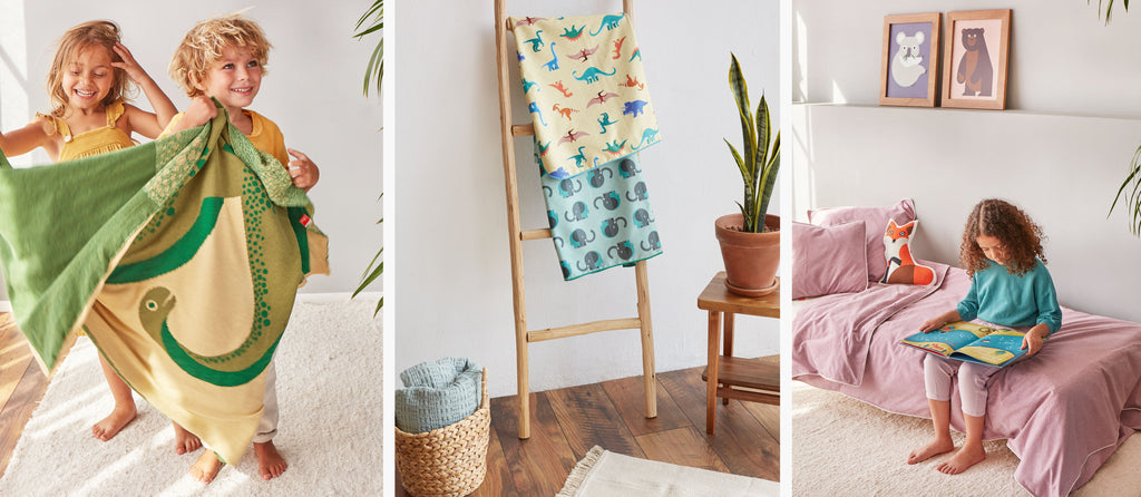 organic cotton dinosaurs blanket, towels and pink bed linen