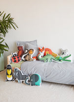 organic cotton animals cushions collection for kids, made in Spain