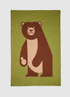 Large eco-friendly brown and green bear blanket for kids