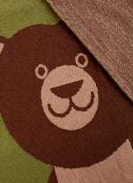 detail of large eco-friendly brown bear blanket