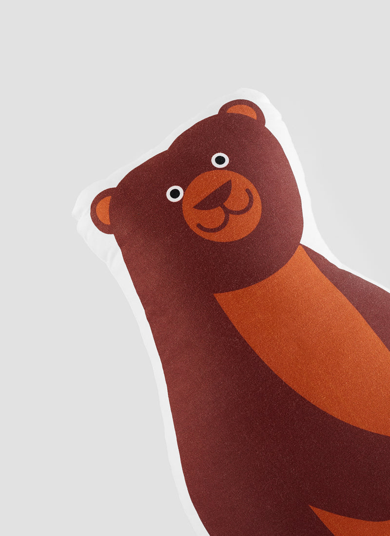 detail of brown bear organic cotton cushion for the kids room