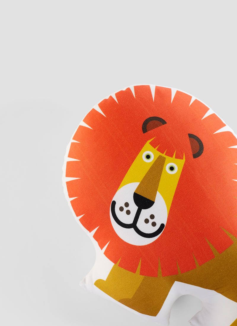 detail of lion organic cotton cushion for kids
