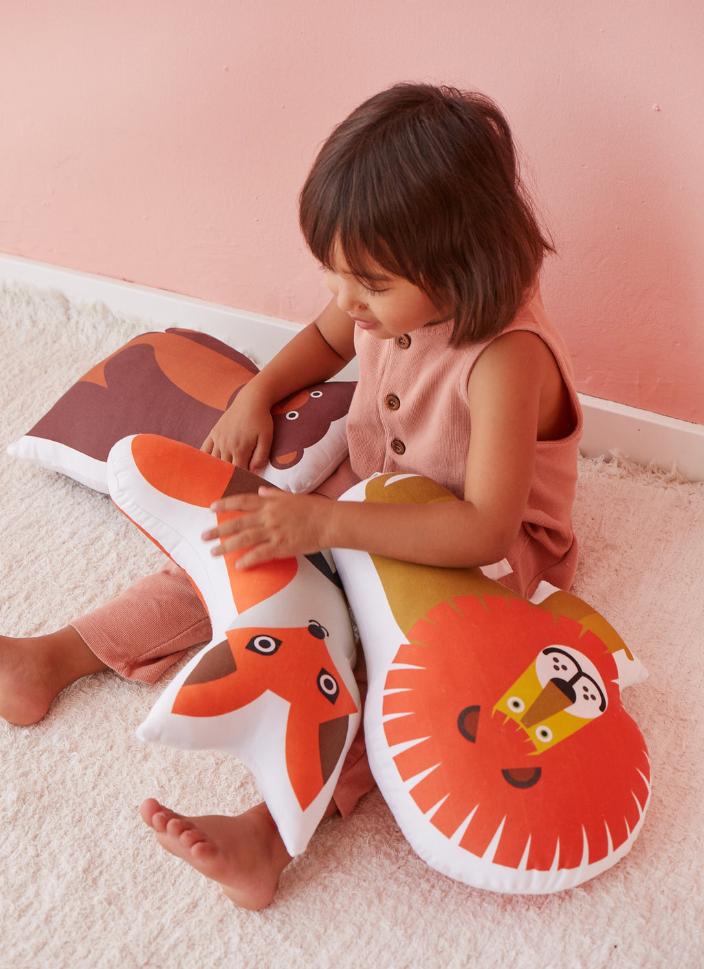 lion, bear, fox organic cotton cushions for kids
