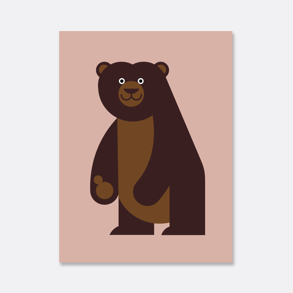 brown bear illustration kids print
