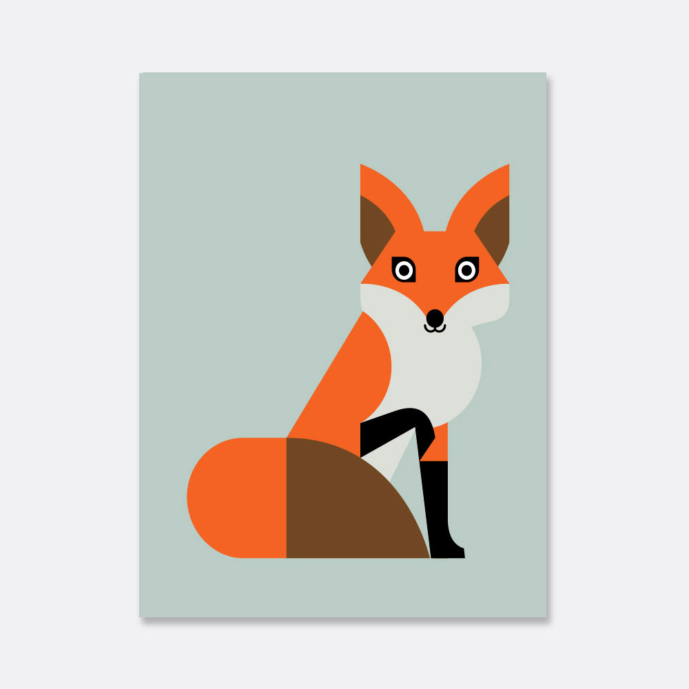 fox illustration poster for the kids room