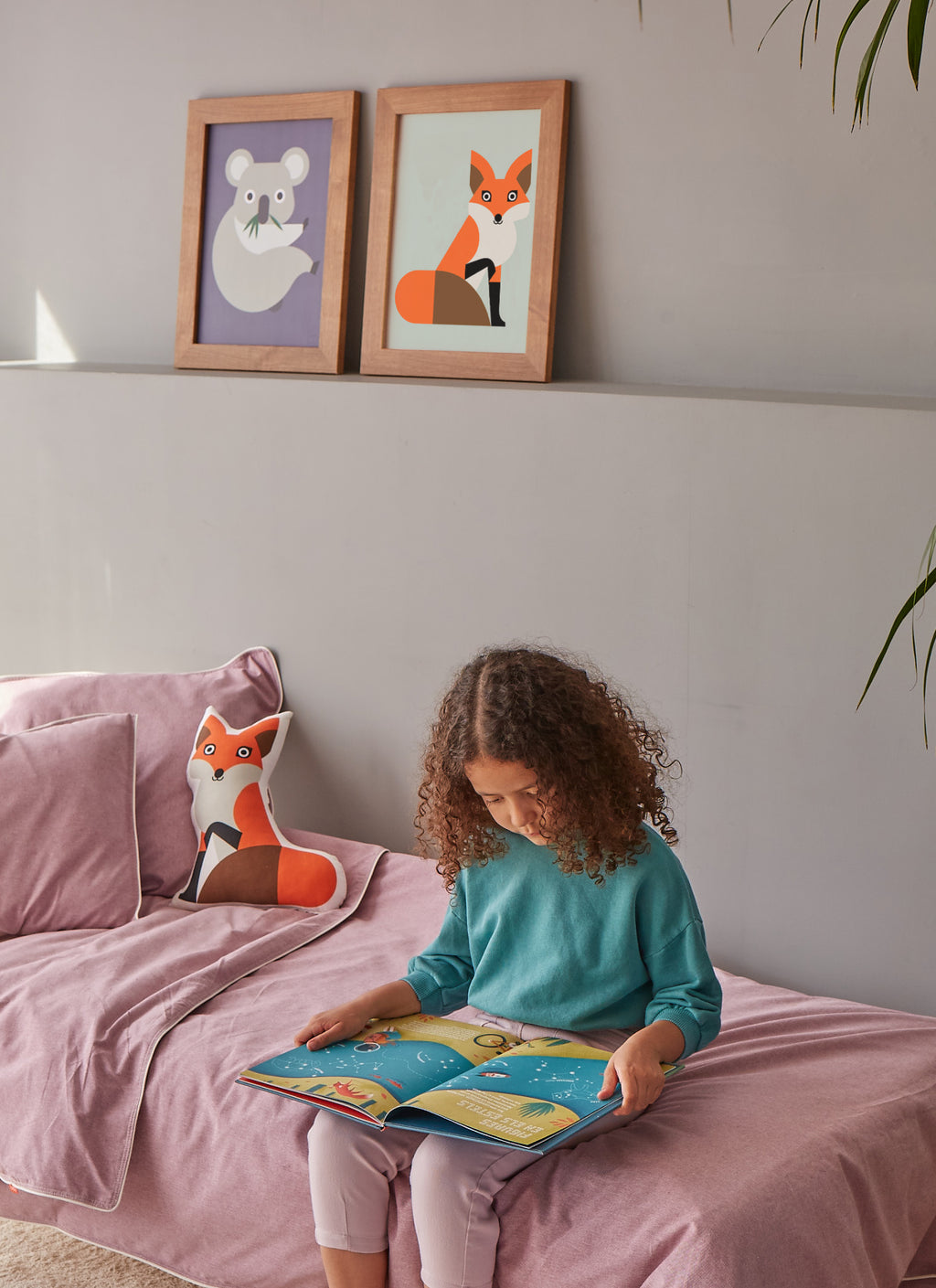 fox and koala prints, fox cushion, pink organic cotton duvet cover for the kids room