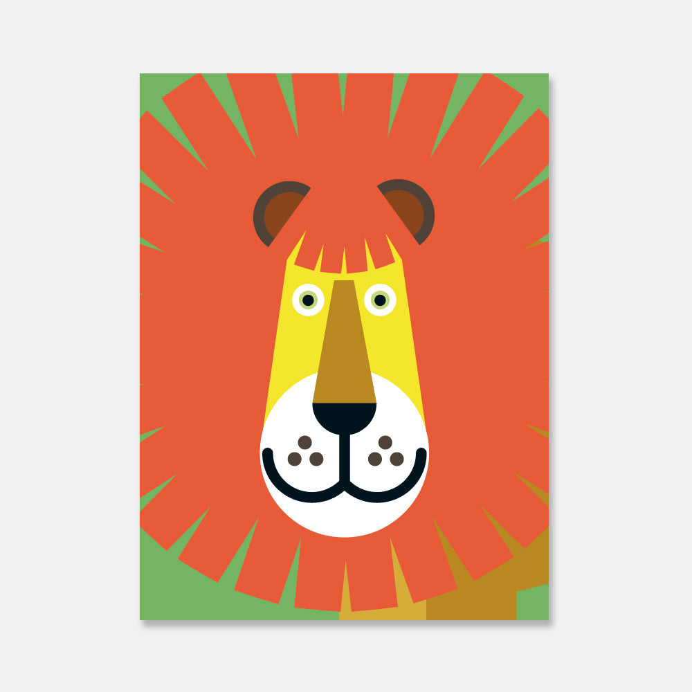 lion face illustration print for kids