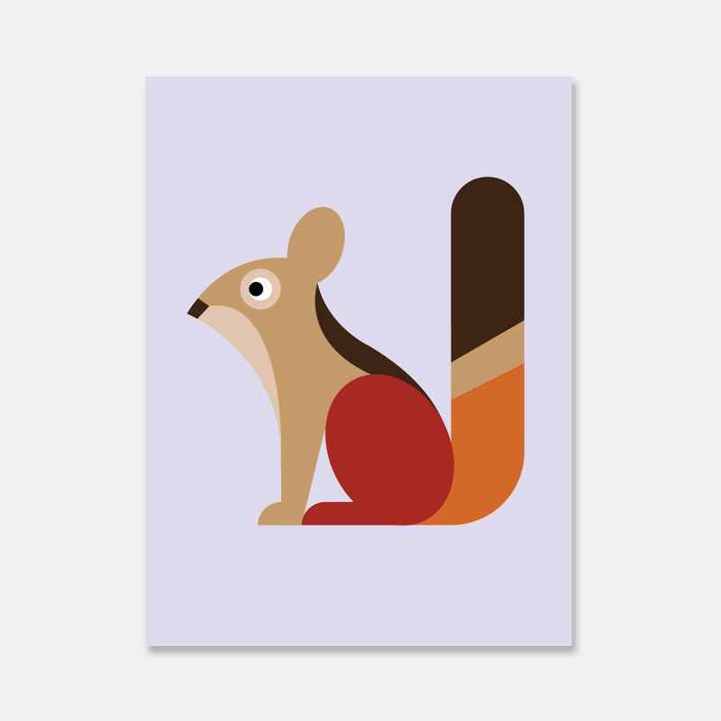 squirrel illustration print for the kids room