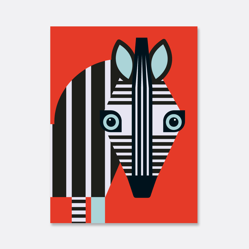 zebra illustration print for the kids room