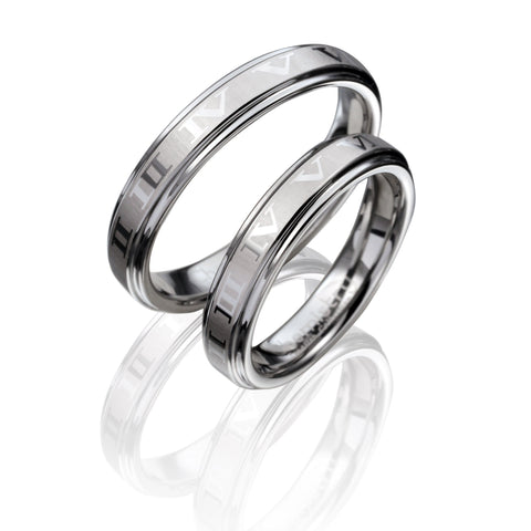 Romantic Roman Numeral Etched Silver Tungsten Ring
