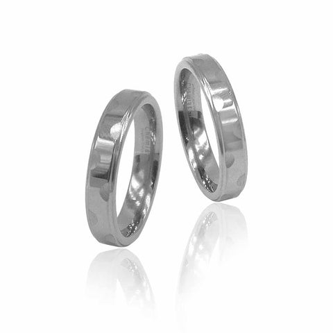 Scallop Etched Silver Tungsten Ring