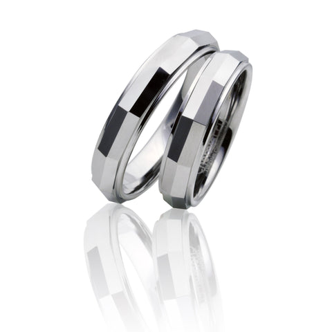 Rectangular Flattened Mirror Finish Silver Tungsten Ring