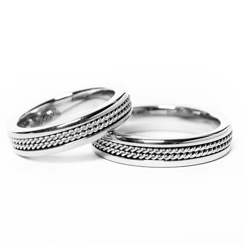 Double Twisted Rope Inlay Silver Tungsten Ring