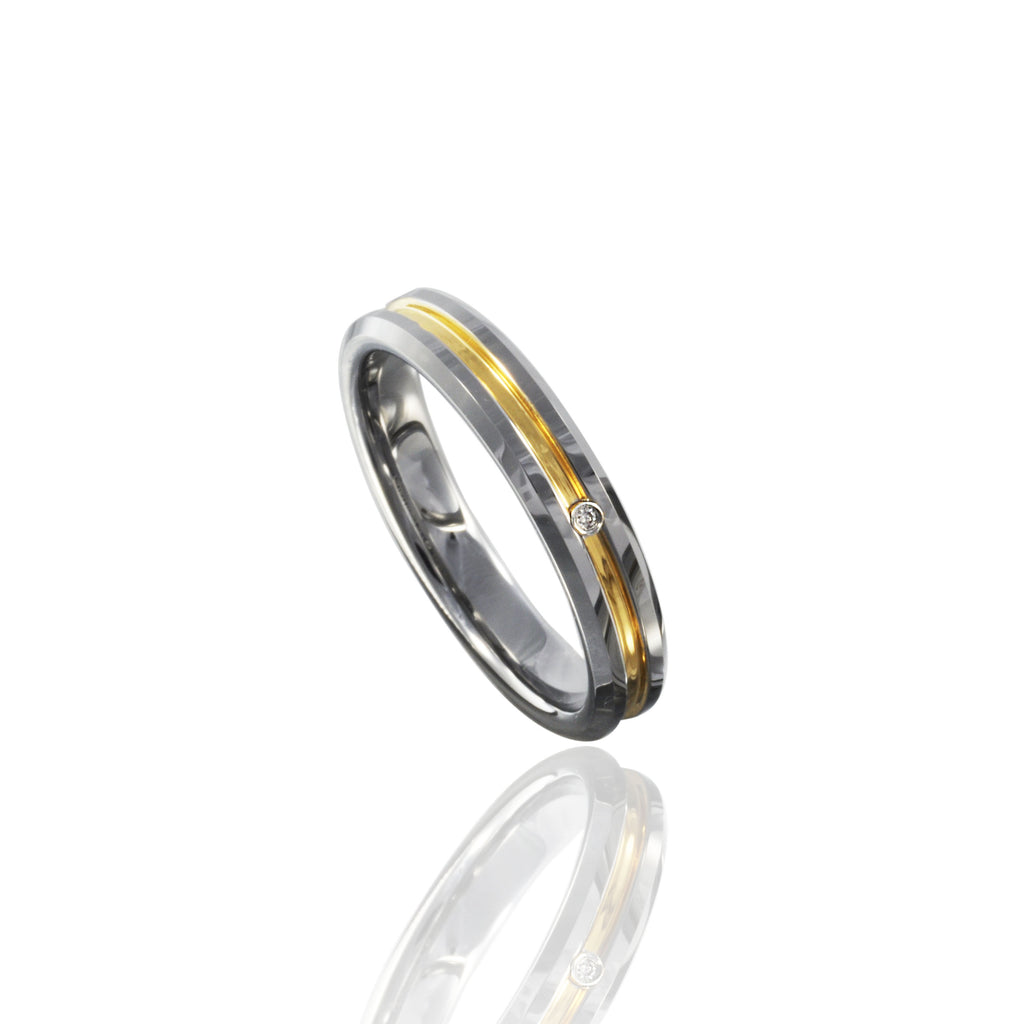 Grooved Two-Tone Tungsten Ring with Diamond