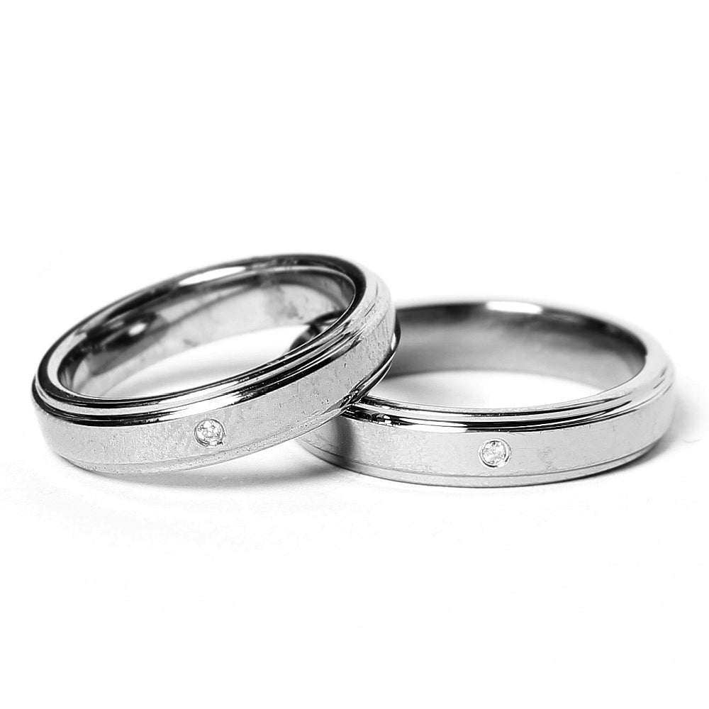 Matte Silver Tungsten Ring with Diamond in Pairs