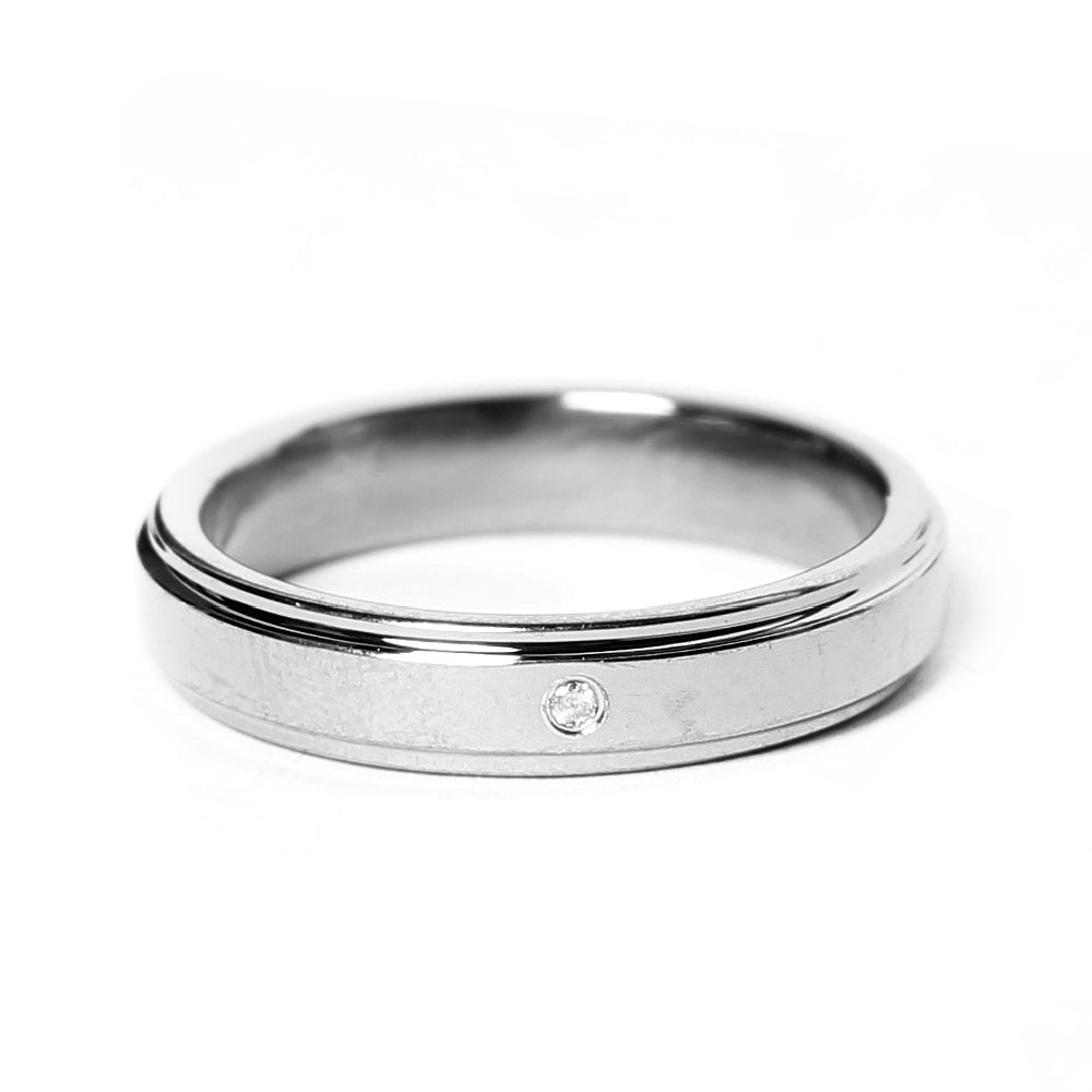Matte Silver Tungsten Ring with Diamond