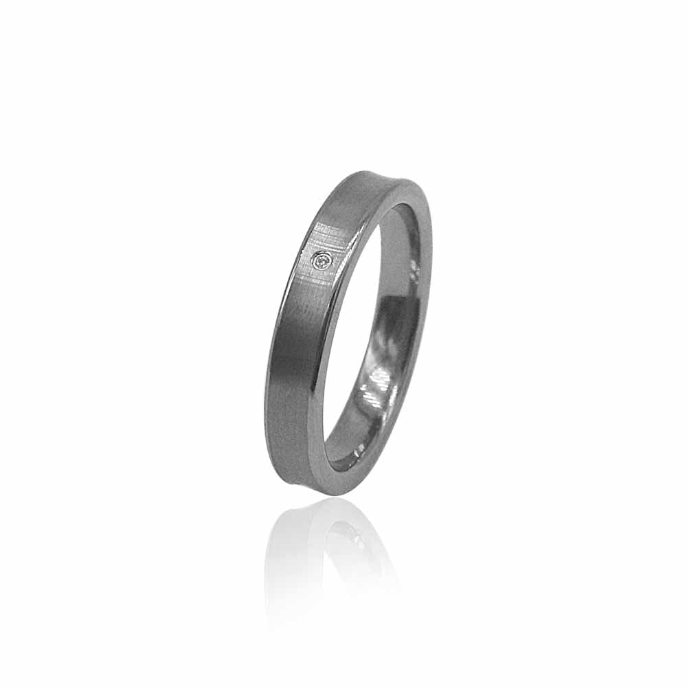 Satin Finish Silver Tungsten Ring with Diamond